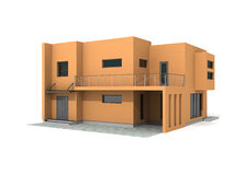 Modern private house exterior 3d render. Modern private orange house exterior isolated over white 3d Stock Images