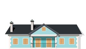 Modern private house, vector royalty free illustration