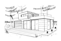 Modern private residential house. Hand drawn, contour, black and white sketch illustration. Modern private residential house. Hand drawn, contour, black and Royalty Free Stock Images