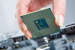 Modern processor and motherboard Royalty Free Stock Photo