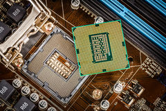 Modern processor and motherboard Royalty Free Stock Image