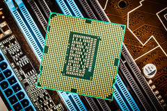 Modern processor and motherboard Stock Image