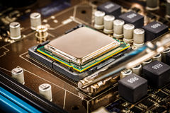 Modern processor and motherboard Royalty Free Stock Photos