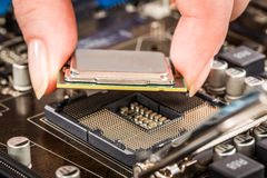 Modern processor and motherboard Stock Photography
