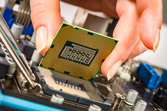 Modern processor and motherboard Stock Images