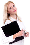 Modern professional businesswoman holding folder and pen - Stock Image Royalty Free Stock Photo