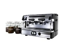 Modern professional coffee machine for two cups with large jars of different coffee 3d rendering on white background no shadow vector illustration