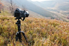 Modern professional dslr camera on a tripod, outdoor photography Royalty Free Stock Photography