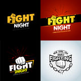 4 Modern professional fighting poster templates logo design with fist. Isolated vector illustrations. 4 Modern professional fighting poster templates logo Royalty Free Stock Photography