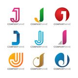 Modern professional J logo design for company logo set. Modern, awesome  and professional J logo design for tech computer financial industrial construction Stock Photography