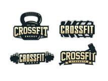 Modern professional logo emblem set for crossfit.  Stock Image