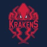Modern Professional Logo For Sport Team. Kraken Mascot. Octopus, Vector Symbol On A Red Background. Stock Photography