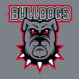 Modern professional logo for sport team. Bulldog mascot. Bulldogs, vector symbol on a dark background. Royalty Free Stock Photography