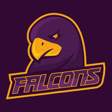 Modern professional logo for sport team. Falcon mascot. Falcons, vector symbol on a dark background. Stock Images