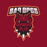 Modern professional logo for sport team. Pitbull mascot. Pitbulls, vector symbol on a dark background. Stock Images