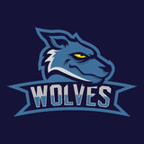 Modern professional logo for sport team. Wolf mascot. Wolves, vector symbol on a dark background. Stock Photo