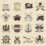 Modern professional pirate logo marine badges nautical sword old skeleton banner template and skull roger sea icon Stock Photography