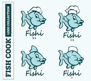 Modern professional set logo emblem fish cook for different countries.  Stock Photography