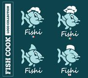 Modern professional set logo emblem fish cook for different countries in blue theme.  Royalty Free Stock Photo