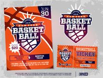 Modern professional sports design poster and ticket and emblem for basketball tournament.  stock illustration