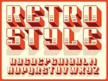 Modern professional vector 3d alphabet retro style. Custom typeface.  Royalty Free Stock Photo