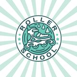 Modern professional vector emblem roller school in green theme vector illustration