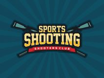 Modern professional vector emblem shooting for shooters club in blue theme stock illustration