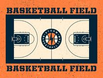 Modern professional vector field for basketball in orange theme.  Royalty Free Stock Image