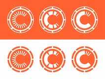 Modern professional vector set currency icons in orange theme.  Stock Illustration