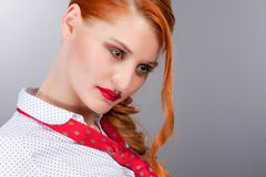 Modern Professional Woman in Red Stock Photo