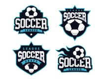 Modern professioneel die voetbalembleem voor sportteam wordt geplaatst Royalty-vrije Stock Foto's