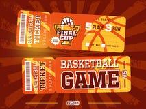Modern professioneel ontwerp twee van basketbalkaartjes in oranje thema stock fotografie