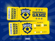 Modern professioneel ontwerp twee van voetbalkaartjes in blauw en geel thema Stock Foto