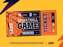 Modern professioneel ontwerp van basketbalkaartjes in oranje thema royalty-vrije stock afbeelding