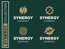 Modern professioneel vector vastgesteld emblemensynergisme voor zaken Stock Foto