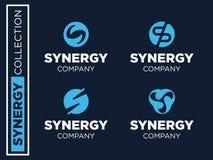 Modern professioneel vector vastgesteld emblemensynergisme voor zaken Stock Foto's