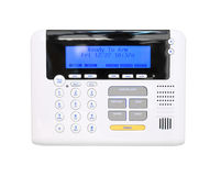 Modern programmable alarm system, ready to arm isolated on white Royalty Free Stock Photo