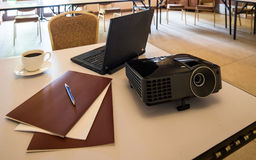 Modern projector and laptop Stock Photography