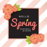 Modern promotion hello spring web banner for social media mobile. Apps. Elegant seasonal and motivational promo background with floral pattern. Email ad Stock Photography