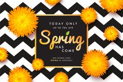 Modern promotion spring web banner for social media mobile apps. Elegant seasonal sale and discount promo backgrounds with abstract pattern. Email ad Stock Photos