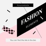 Modern promotion square web banner Fashion Elements, for social media mobile apps. Elegant promo banner for online shopping with a Stock Photos