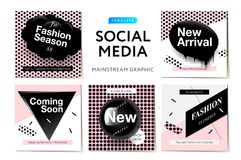 Modern promotion square web banner for social media mobile apps. Elegant Fashion promo banners for online shopping with abstract p Royalty Free Stock Image