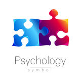 Modern Psi sign of Psychology. Puzzle. Creative style. Symbol in vector. Design concept. Brand company. Blue violet Royalty Free Stock Photos