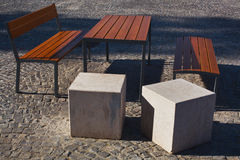 Modern public bench and table Royalty Free Stock Photography