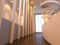 Modern public interior. With window and spiral stairs Royalty Free Stock Image