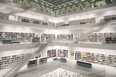 Modern public library. Interior view of a public library Royalty Free Stock Photo
