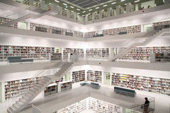 Modern public library. Interior view of a public library Royalty Free Stock Photography