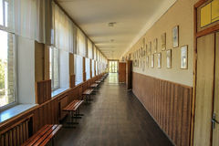 Modern public school, corridor. Modern public school, large spacious empty corridor Royalty Free Stock Images