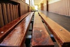 Modern public school, corridor. Modern public school, large spacious empty corridor school bench Stock Photography
