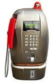 Modern public telephone isolated. Modern public telephone on city street isolated Stock Photography